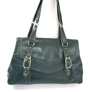COLE HAAN Green Leather Satchel Shoulder Purse